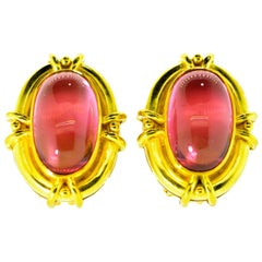 Elizabeth Locke Gold and Tourmaline Earrings
