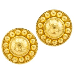 Elizabeth Locke Gold Button Earrings