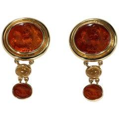 Elizabeth Locke Gold Earrings with Ancient Glass Carvings of Luna/Selene