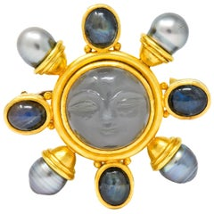 Elizabeth Locke Gray Moonstone Labradorite South Pearl 18 Karat Gold Moon Brooch