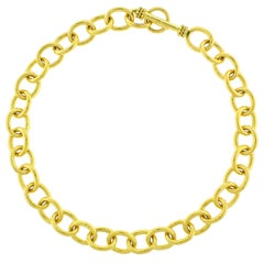 Elizabeth Locke Hammered Volterra Link Necklace