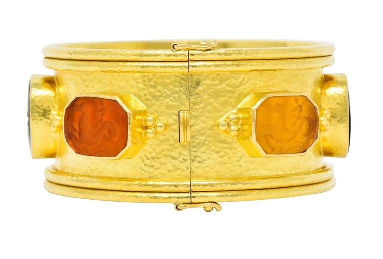 Cabochon Elizabeth Locke Intaglio 19 Karat Hammered Gold Bangle Bracelet For Sale