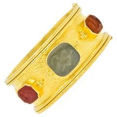 Elizabeth Locke Intaglio 19 Karat Hammered Gold Bangle Bracelet