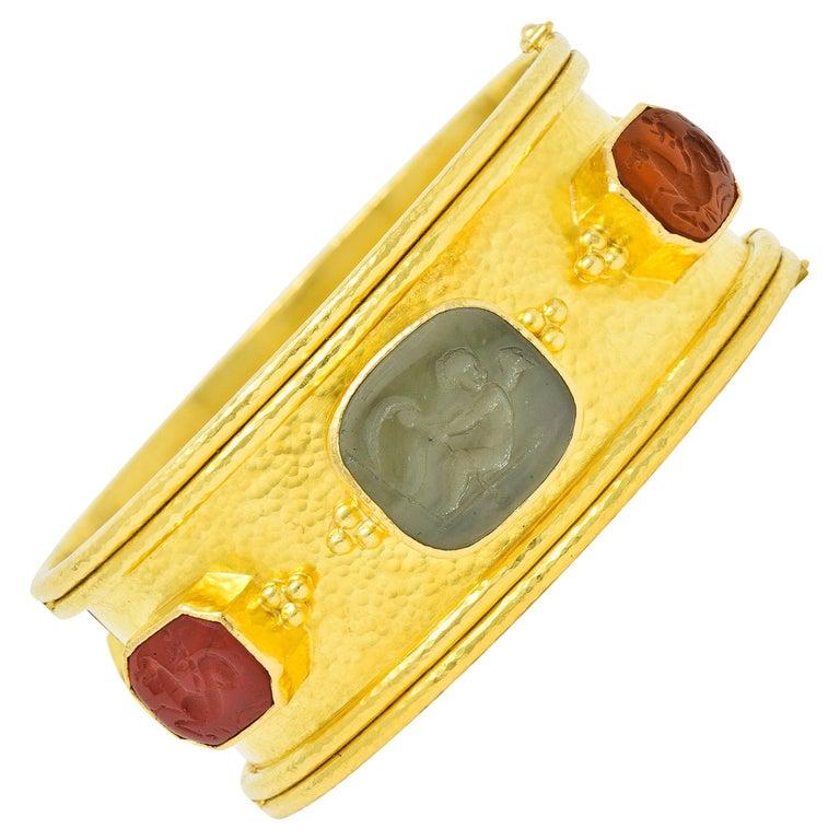 Elizabeth Locke Intaglio 19 Karat Hammered Gold Bangle Bracelet For Sale