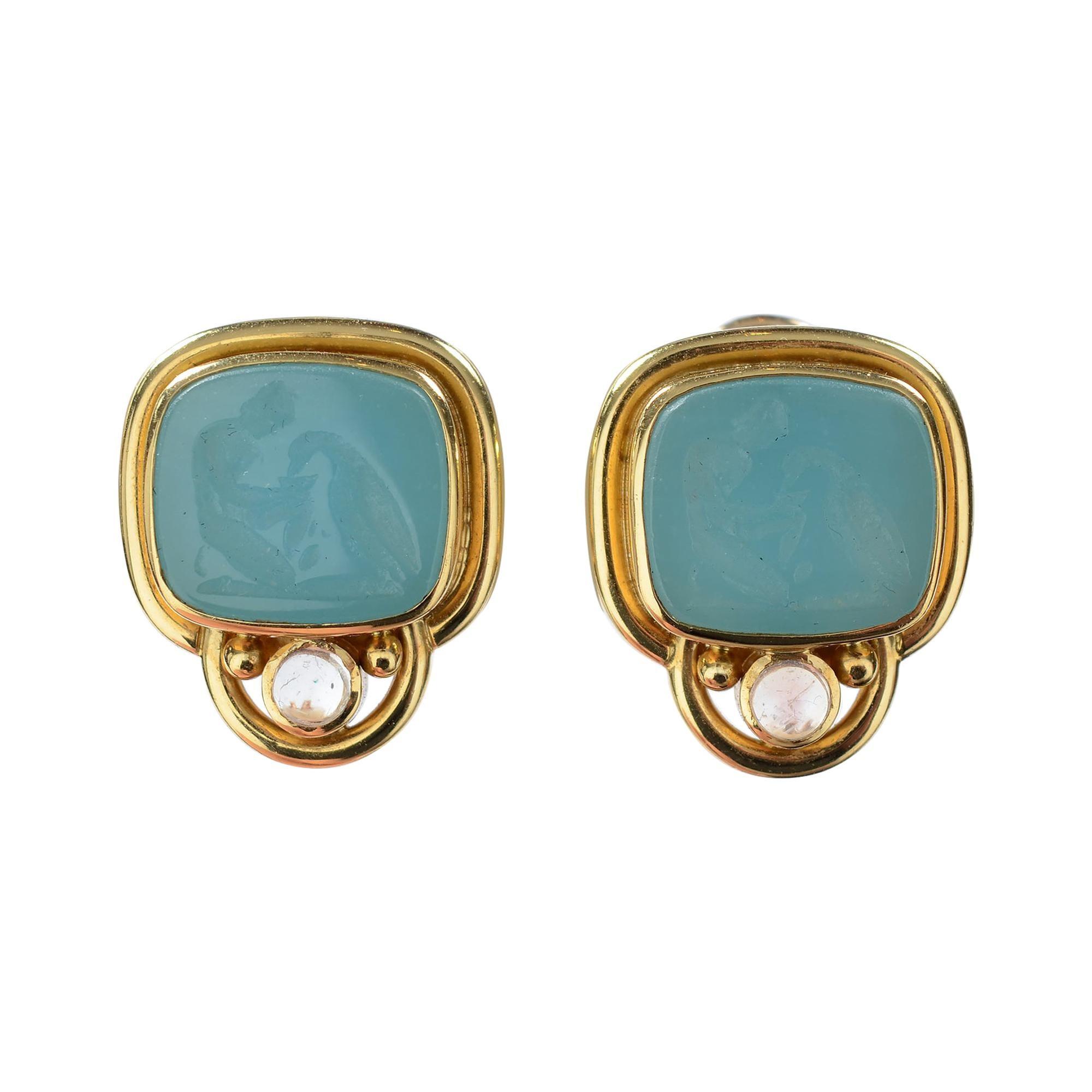 Elizabeth Locke Intaglio and Moonstone Earrings