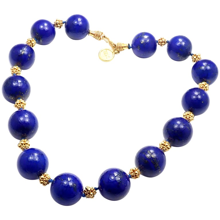 89e26193d67cf5 Elizabeth Locke Large Lapis Bead Yellow Gold Necklace For Sale at ...