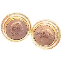 Elizabeth Locke Lava Cameo Large Yellow Gold Earrings