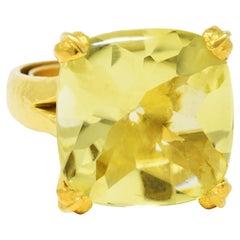 Elizabeth Locke Lemon Quartz 19 Karat Gold Gemstone Ring