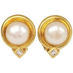 Elizabeth Locke Mabe Pearl Gold and Diamond Earrings