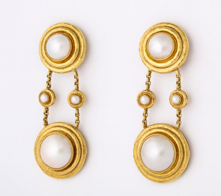 Elizabeth Locke Mabe Pearl Gold Drop Ear Clips For Sale 2