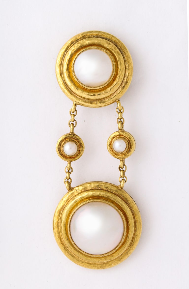 Elizabeth Locke Mabe Pearl Gold Drop Ear Clips For Sale 3