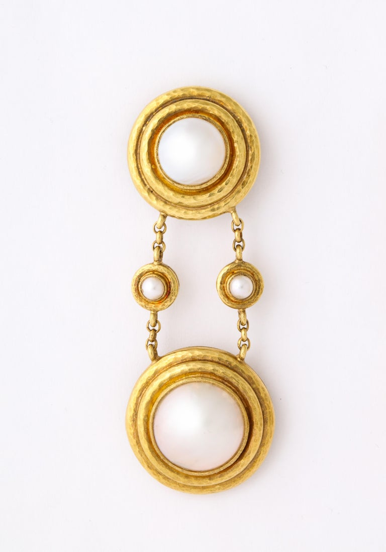 Elizabeth Locke Mabe Pearl Gold Drop Ear Clips For Sale 4