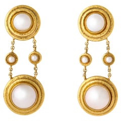 Elizabeth Locke Mabe Pearl Gold Drop Ear Clips