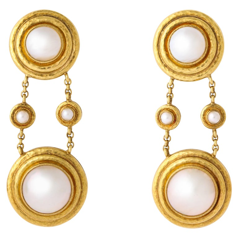Elizabeth Locke Mabe Pearl Gold Drop Ear Clips For Sale