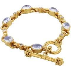 Elizabeth Locke Moonstone and Diamond 18 Karat Yellow Gold Toggle Bracelet