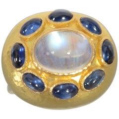 Elizabeth Locke Moonstone and Sapphire Ring