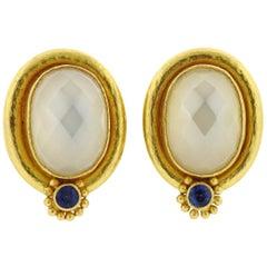 Elizabeth Locke Moonstone Sapphire Gold Earrings