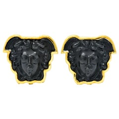 Elizabeth Locke Onyx 18 Karat Gold Medusa Earrings
