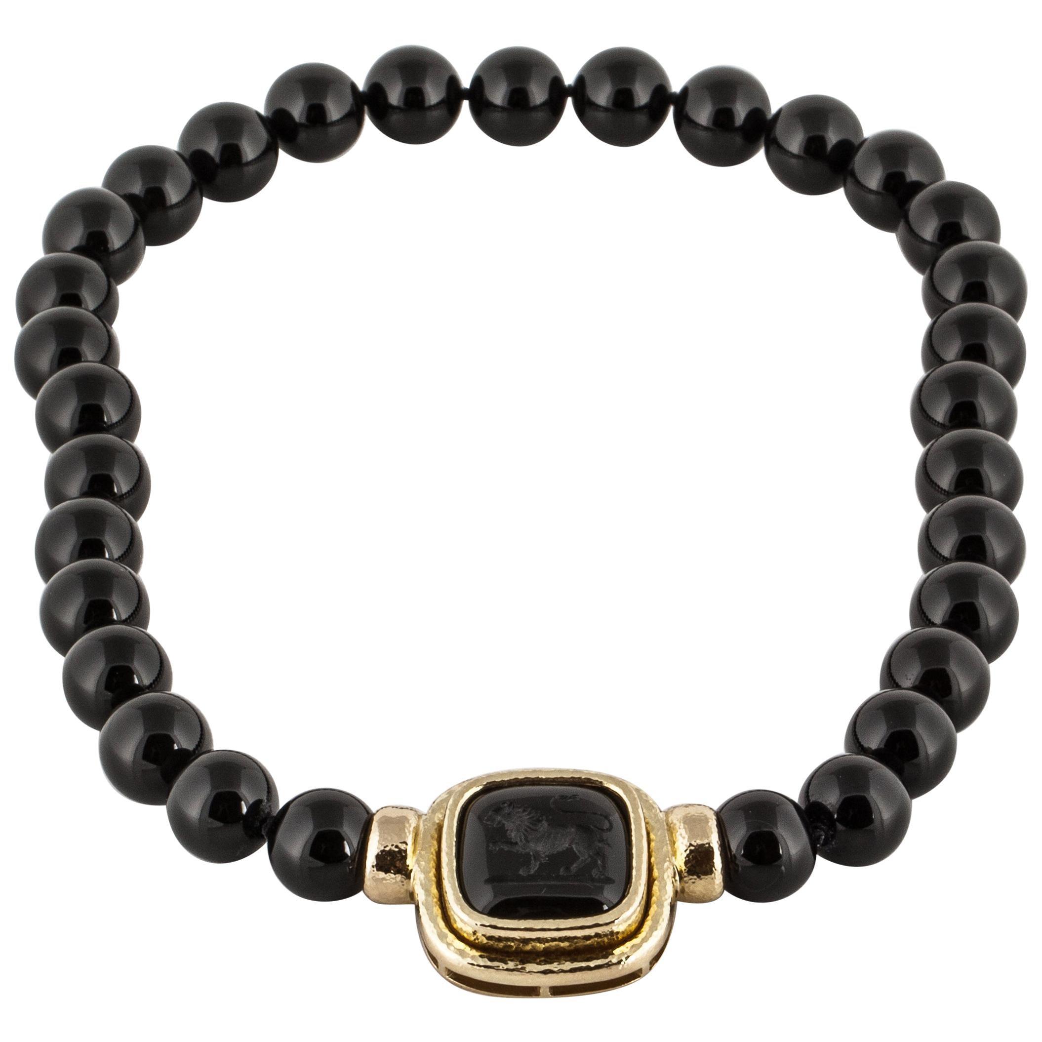 Elizabeth Locke Onyx Bead Necklace with Intaglio