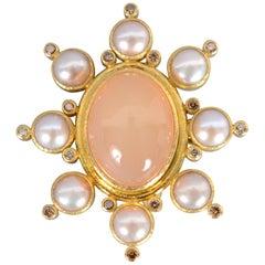 Elizabeth Locke Peach Moonstone, Pearl and Diamond Brooch/ Pendant