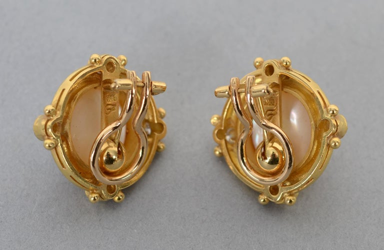 Elizabeth Locke Pearl and Diamond Gold Earrings In Excellent Condition In Darnestown, MD