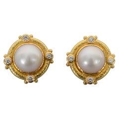 Elizabeth Locke Pearl and Diamond Gold Earrings