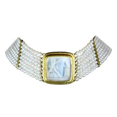 Elizabeth Locke Pearl Choker with Mother of Pearl Intaglio and Gold