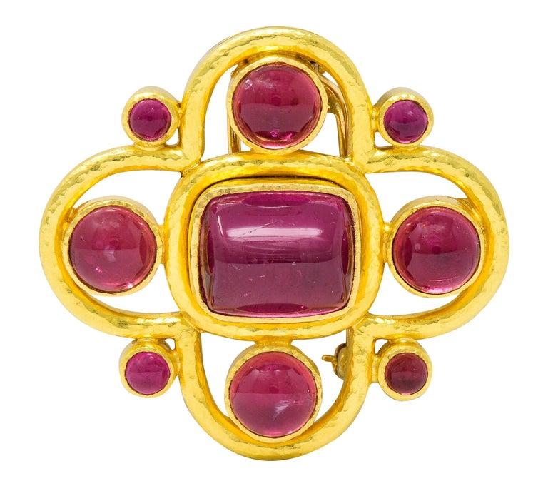 Elizabeth Locke Pink Tourmaline 19 Karat Hammered Gold Quatrefoil Pendant Brooch For Sale 1