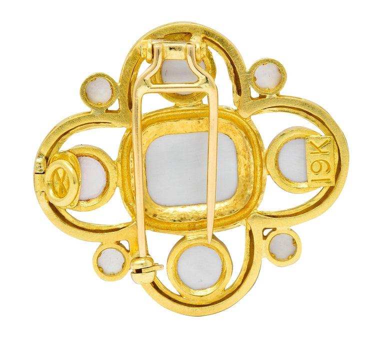 Elizabeth Locke Pink Tourmaline 19 Karat Hammered Gold Quatrefoil Pendant Brooch For Sale 2