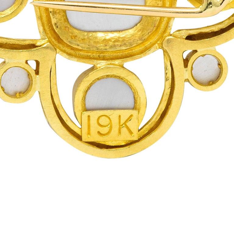 Elizabeth Locke Pink Tourmaline 19 Karat Hammered Gold Quatrefoil Pendant Brooch For Sale 3