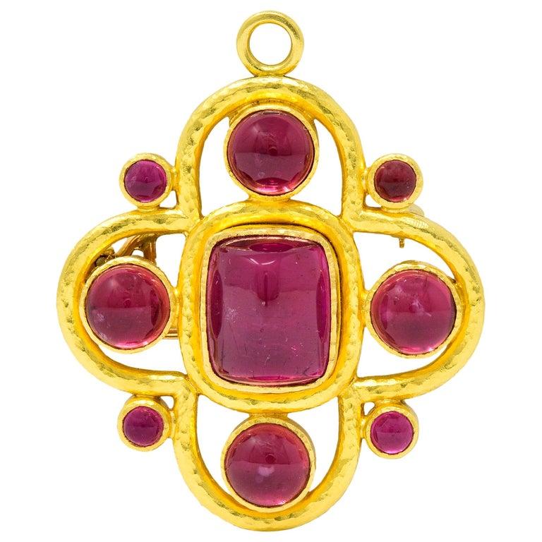 Elizabeth Locke Pink Tourmaline 19 Karat Hammered Gold Quatrefoil Pendant Brooch For Sale