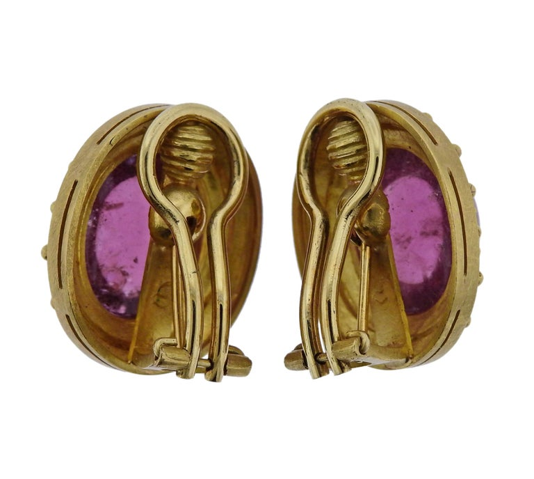 Elizabeth Locke Pink Tourmaline Cabochon Gold Earrings In Excellent Condition For Sale In Lahaska, PA