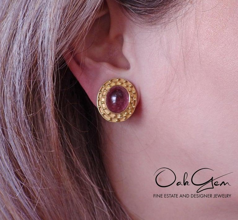 Elizabeth Locke Pink Tourmaline Cabochon Gold Earrings For Sale 2
