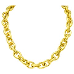 Elizabeth Locke Ruby 19 Karat Gold Substantial Curb Link Chain Collar Necklace