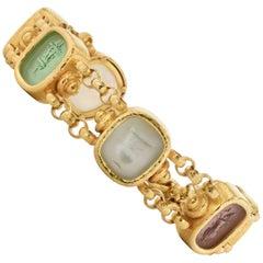 Elizabeth Locke Six Venetian Glass Urn Intaglio Yellow Gold Toggle Bracelet