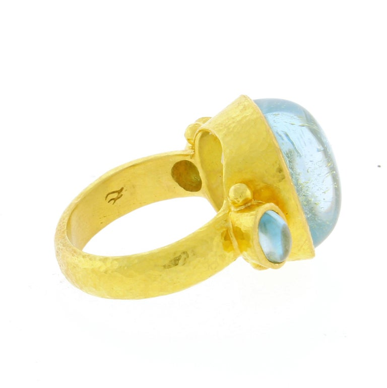 Elizabeth Locke Square Cushion Cabochon Aquamarine Ring In Good Condition For Sale In Bethesda, MD