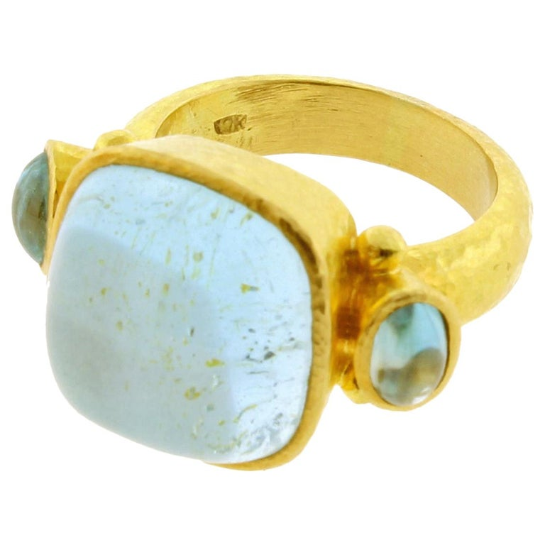 Elizabeth Locke Square Cushion Cabochon Aquamarine Ring For Sale