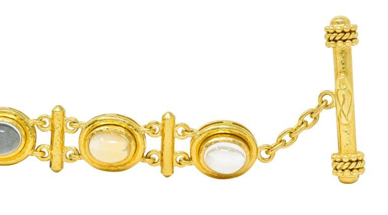 Elizabeth Locke Tourmaline Moonstone Peridot 19 Karat Gold Link Bracelet For Sale 4
