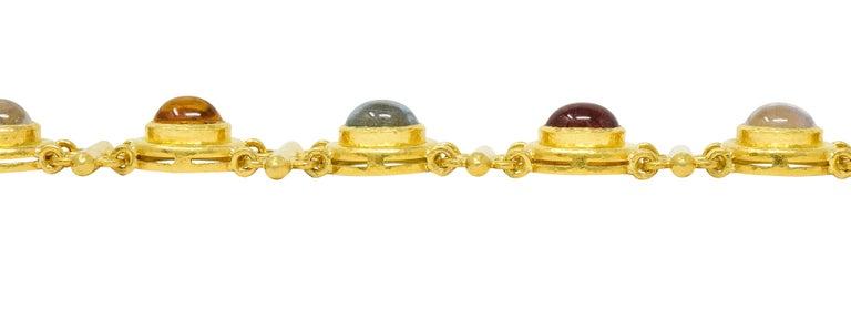 Elizabeth Locke Tourmaline Moonstone Peridot 19 Karat Gold Link Bracelet For Sale 5