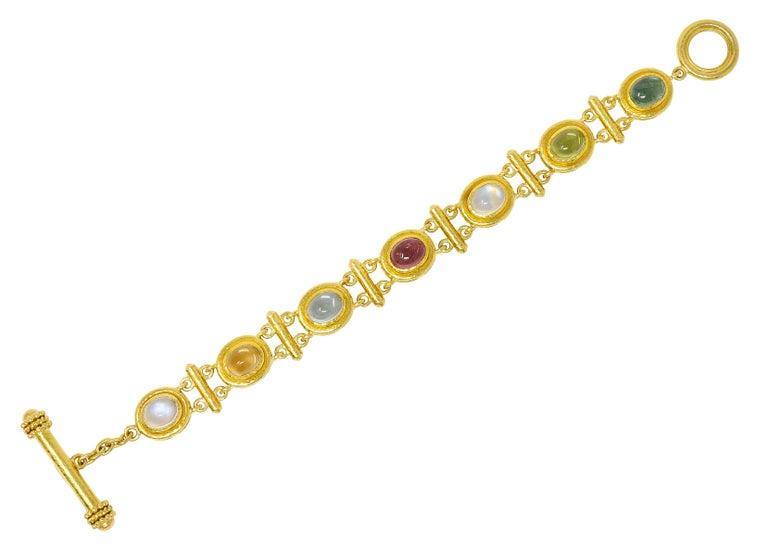 Elizabeth Locke Tourmaline Moonstone Peridot 19 Karat Gold Link Bracelet For Sale 7