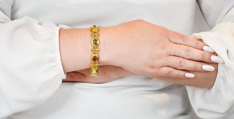 Elizabeth Locke Tourmaline Moonstone Peridot 19 Karat Gold Link Bracelet For Sale 8