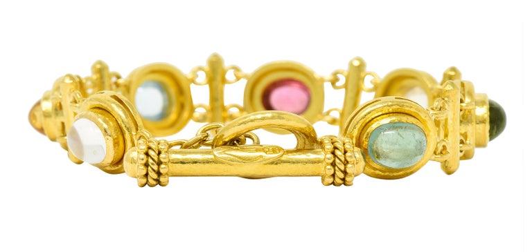 Cabochon Elizabeth Locke Tourmaline Moonstone Peridot 19 Karat Gold Link Bracelet For Sale
