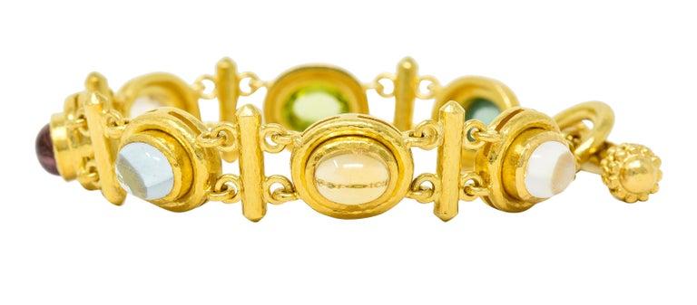 Elizabeth Locke Tourmaline Moonstone Peridot 19 Karat Gold Link Bracelet In Excellent Condition For Sale In Philadelphia, PA