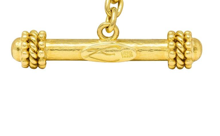Women's or Men's Elizabeth Locke Tourmaline Moonstone Peridot 19 Karat Gold Link Bracelet For Sale