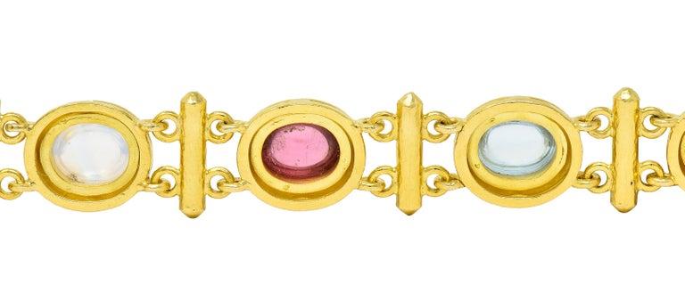 Elizabeth Locke Tourmaline Moonstone Peridot 19 Karat Gold Link Bracelet For Sale 1