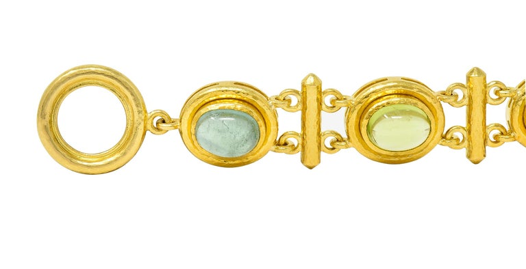Elizabeth Locke Tourmaline Moonstone Peridot 19 Karat Gold Link Bracelet For Sale 2