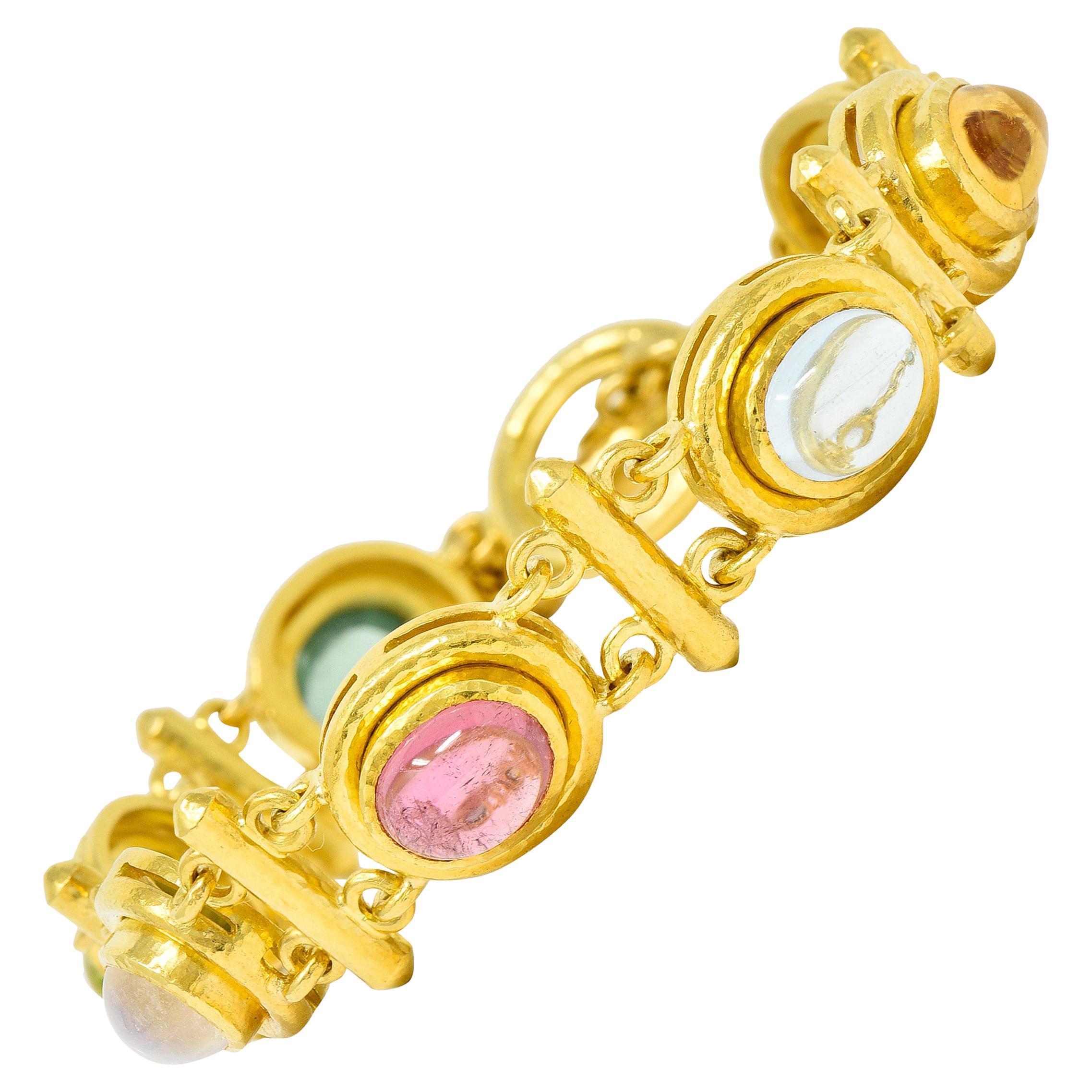 Elizabeth Locke Tourmaline Moonstone Peridot 19 Karat Gold Link Bracelet
