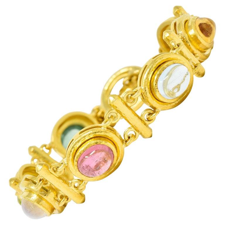 Elizabeth Locke Tourmaline Moonstone Peridot 19 Karat Gold Link Bracelet For Sale