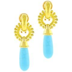 Elizabeth Locke Turquoise Drop Gold Earrings