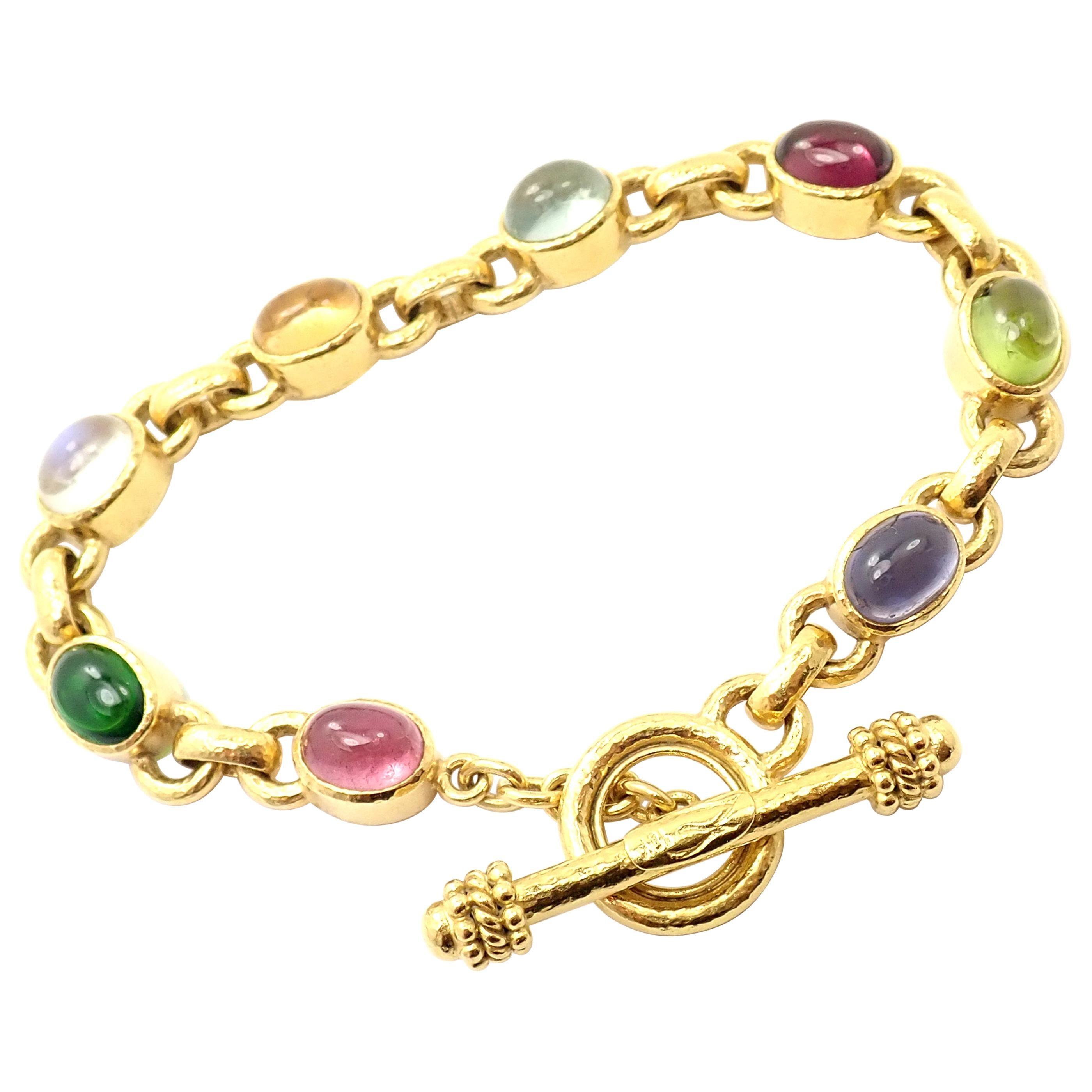 Elizabeth Locke Tutti Frutti Color Stone Toggle Yellow Gold Link Bracelet